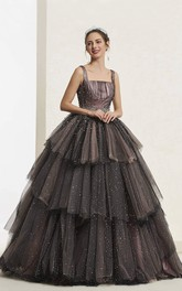 Luxury Vintage Beaded Sleeveless Square Neckline Ballgown With Lace-up And Ruffled Tiers