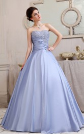Fabulous A-Line Strapless Romantic Ball Gown With Crystal Detailing