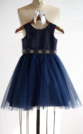 strapped Tulle&Satin Top Dress With Beading Belt