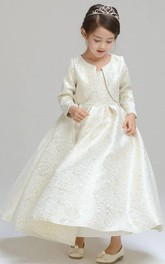 Floor Length Golden Brocade Girls' Communion Classic And Coat Set Dress