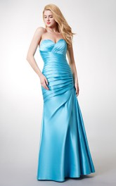 Elegant Ruched Sleeveless Satin Gown With Lace-up Back