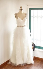 Backless Tulle Lace Satin Dress With Beading Ruffles Keyhole Back