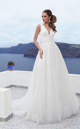 A-line V-neck Low-V Back Tulle Floor-length Dress With Bow&Sequins