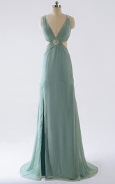 Sheath V-neck Chiffon Dress With Sweep Train