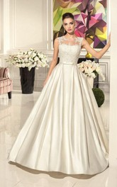 A-Line Satin Floor-Length Dress With Illusion Back And Appliques