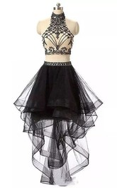 Two Piece High Neck Sleeveless Beading Pleats Ruffles High-low Tulle Homecoming Dress