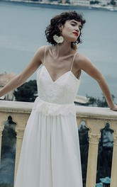 Simple Sheath Chiffon Spaghetti Long Bridal Gown with Deep-V Back