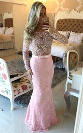 Modern Long Sleeves Pink Prom Dresses 2018 Mermaid Lace Floor Length
