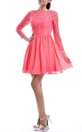 Short Long Sleeve Chiffon&Lace Dress With Low-V Back