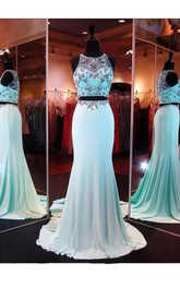 Two Piece Mermaid Prom Dresses Evening Dresses With Beading