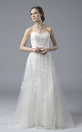 Sweetheart A-line Open Back Lace Tulle Wedding Dress With Appliques And Buttons