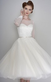 Long Sleeve Vintage Illusion Bateau Sweetheart Tulle Tea Length Wedding Dress