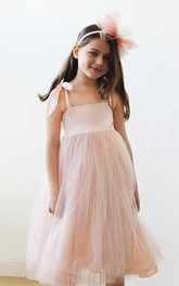 Strapped Tulle Dress With Flower and Pleats