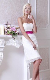 Short Strapped Lace Satin Weddig Dress