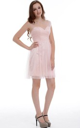 Short One-shoulder Chiffon&Organza Dress