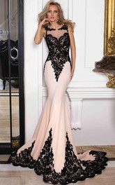 Mermaid Sleeveless Scoop Floor-Length Appliqued Jersey&Lace Prom Dress With Illusion Back And Sweep Train