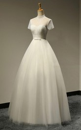 High Neck A-line Tulle Wedding Dress With Short Sleeves And Beaded Bodice