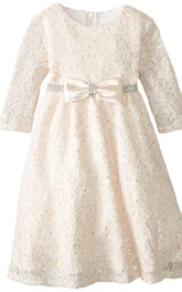 3 4 Sleeved A-line Lace Dress With Bow and Beadings
