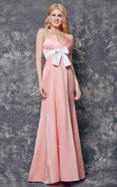 Sexy Neckline Backless Ruched A-line Long Satin Dress