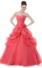 Sweetheart A-line Ballgown With Ruffles and Beadings