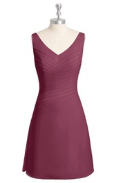 Short Sleeveless A-Line V-Neck Dress With Ruching
