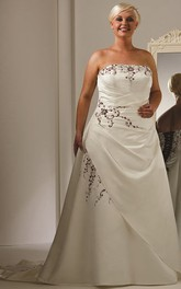 Strapless A-Line Taffeta Bridal Gown With Embroidery And Lace Up