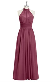 Pleated Floor Length Sleeveless Chiffon Dress With Halter