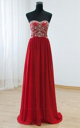 Floor-length A-line Sweetheart Chiffon Beading Dress