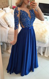 Delicate Chffion Royal Blue 2018 Prom Dress Lace Appliques Half Sleeve