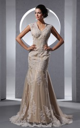 V-Neck Elegant Laced Column Dress With Draping And Appliques