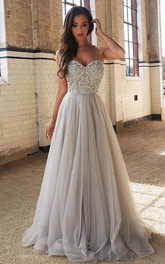 Sweetheart Beaded A line Tulle Evening Prom Dress