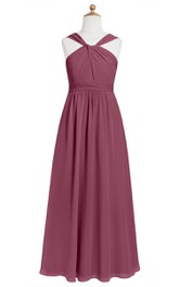 Floor Length Chiffon Sleeveless Dress With Ruching and Pleated Waist