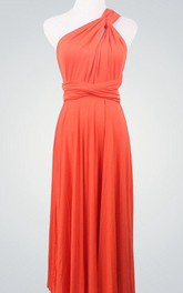 Short Wrap Coral Convertible Infinity Wrap Coral Wrap Bridesmaid Knee Length Party Dress