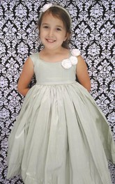 Cap Sleeve Square Pleated Taffeta Flower Girl Dress