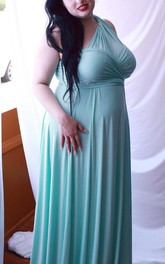 Chesapeake Mint Satin Jersey Octopus Convertible Infinity Wrap Long Maternity Dress