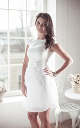 Jewel Cap Sleeve Short Satin Wedding Dress With Sash And Sequins