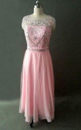 Long Chiffon Beaded Dress With Keyhole Back