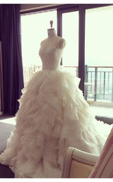 Elegant Ruffles Appliques Beadings Tulle Wedding Dress 2018 Spaghetti Strap