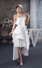 Strapless High-Low Satin Gown with Draped Design