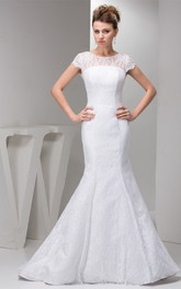 Short-Sleeve Lace Column Gown with Low-V Back