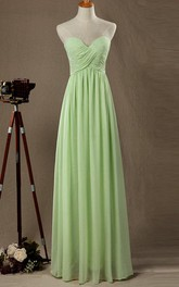 Floor-length Strapped Sweetheart Chiffon&Satin Dress