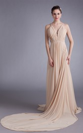 spaghetti-strap maxi chiffon dress with brush train and draping