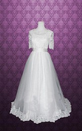 Jewel Half Sleeve Button Back Tulle Wedding Dress With Sash And Lace