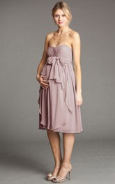 Knee-Length Empire Bowed Strapless Chiffon Bridesmaid Dress With Draping