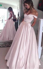 Elegant Satin Off-the-shoulder Neckline A-line Prom Dresses With Beading