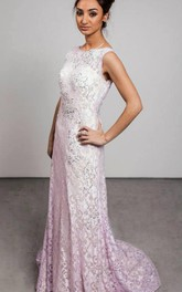 Modern Jewel Sleeveless Lace Evening Dress Sweep Train