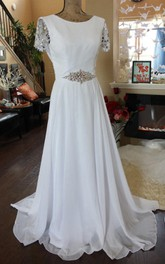 Chiffon Satin Weddig Dress With Beading