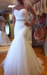Mermaid Sleeveless Sweetheart Brush Train Beading Tulle Wedding Dresses
