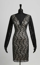 Sheath V-neck Lace Sexy Knee-length Long Sleeve Zipper Keyhole Dress with Lace