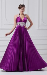 plunged pleated a-line gown with gemmed waist and halter